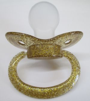 Clearance - Glitter Gold Large Shield/Teat Adult Sized Paci